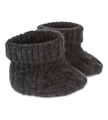 CARAMEL Cable-knit booties (Dark+grey