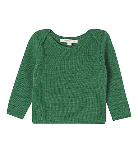 CARAMEL Galloway cashmere jumper 6-24 months (Fern+green