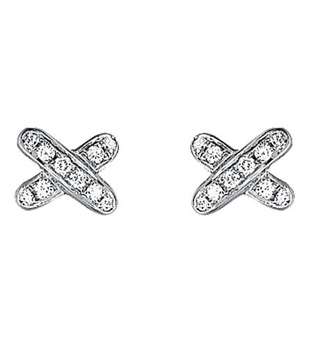 CHAUMET 游戏 de 留置权18ct 白金和钻石耳环