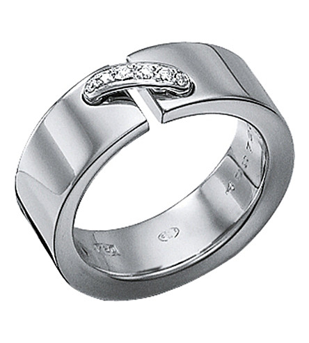 CHAUMET Liens 18ct white-gold diamond-link ring