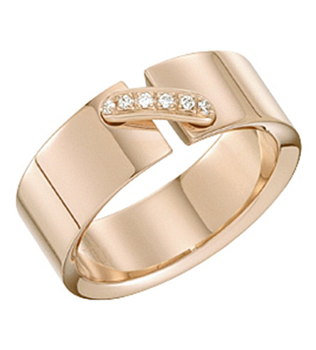 CHAUMET Liens 18ct pink-gold diamond-link ring
