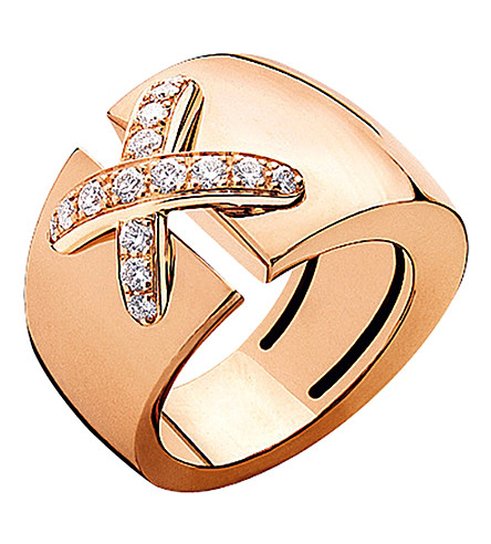 CHAUMET ens XL 18ct rose-gold and diamond ring