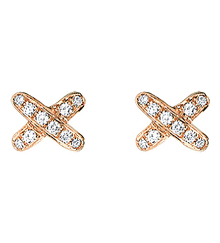 CHAUMET Jeux de Liens 18ct pink-gold and diamond earrings