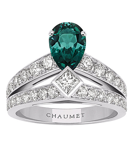 CHAUMET Joséphine Tiara 18ct white-gold, green tourmaline and diamond ring