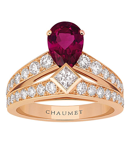 CHAUMET Joséphine Tiara 18ct pink-gold, rubellite and diamond ring