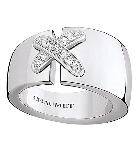 CHAUMET Liens 18ct rhodium-plated white-gold and diamond ring