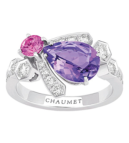 CHAUMET Bee My Love 18ct rhodium-plated white gold, sapphire and amethyst ring