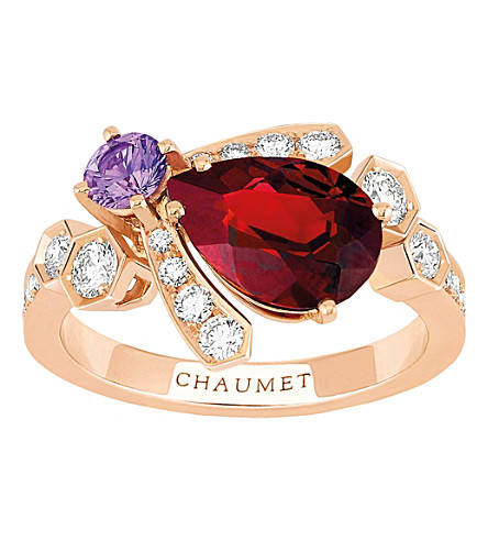 CHAUMET Bee My Love 18ct rose-gold, sapphire and garnet ring