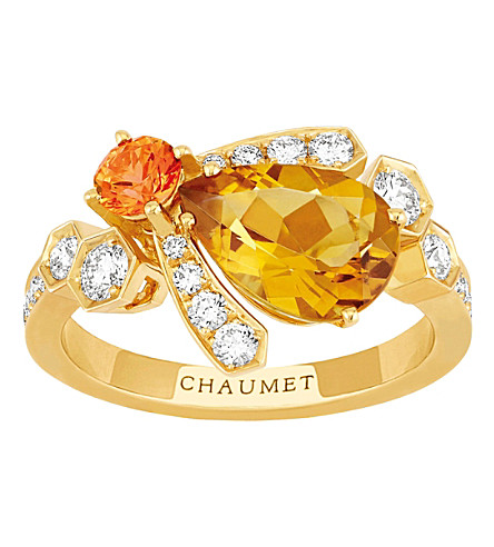 CHAUMET Bee My Love 18ct yellow-gold, sapphire and citrine ring