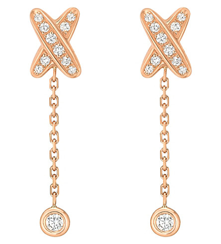 CHAUMET Premiers liens 18ct pink-gold and diamond earrings