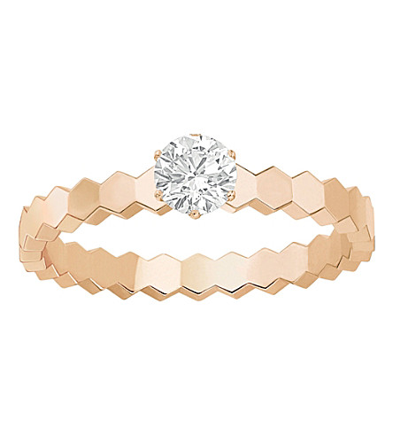 CHAUMET Bee My Love solitaire 18ct rose-gold and diamond ring