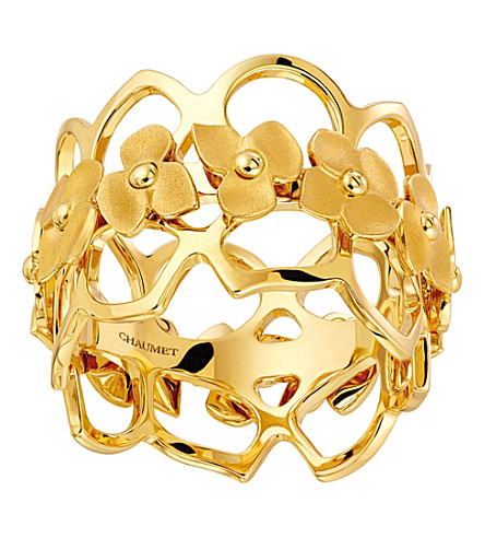 CHAUMET Hortensia 18ct yellow-gold bandeau ring
