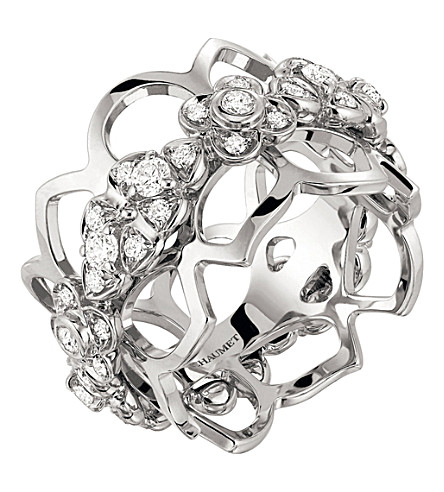 CHAUMET Hortensia 18ct white-gold and diamond bandeau ring