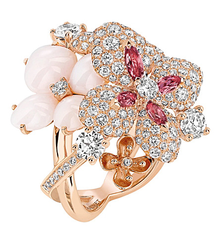 CHAUMET Hortensia 18ct rose-gold, diamond, opal and sapphire ring