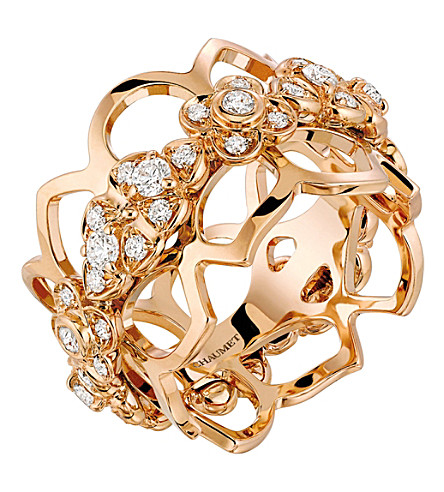 CHAUMET Hortensia 18ct rose-gold and diamond bandeau ring