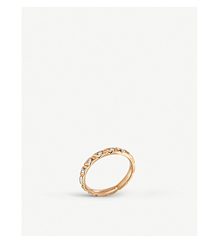 CHAUMET Torsade 18ct rose-gold and diamond wedding band