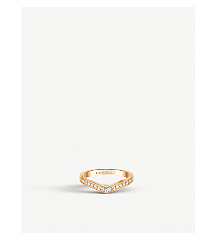 CHAUMET Aigrette 18ct pink-gold and diamond wedding band