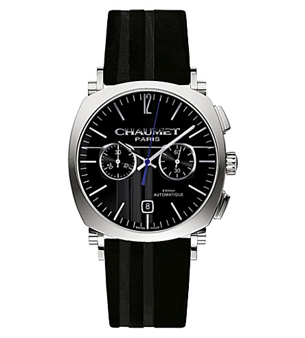 CHAUMET W11290-30A Dandy stainless steel and leather chronograph watch