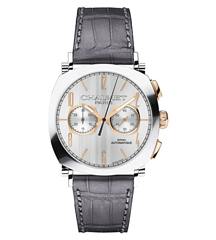 CHAUMET W11790-30V Dandy Vintage 18ct rose-gold, stainless steel and leather watch
