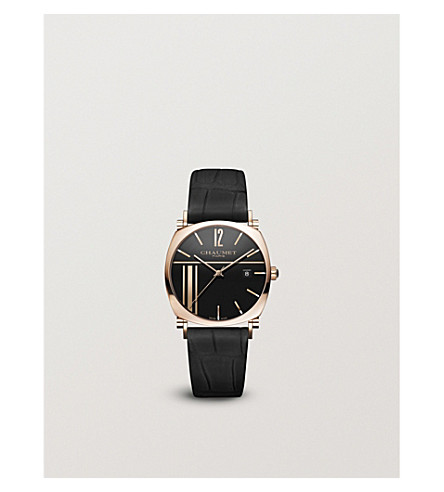CHAUMET W11889-27M Dandy 18-carat rose-gold leather strap automatic watch