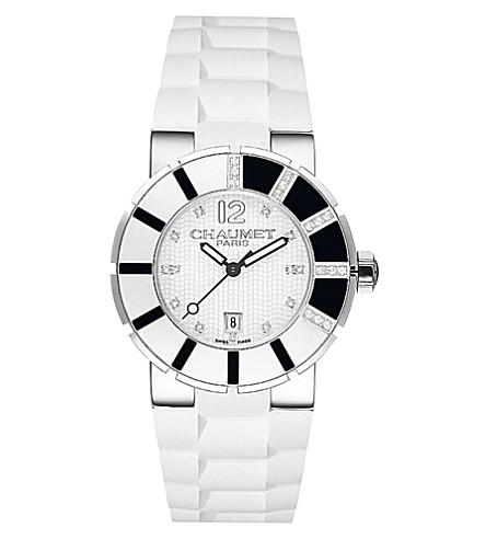 CHAUMET Class One polished steel and diamond watch
