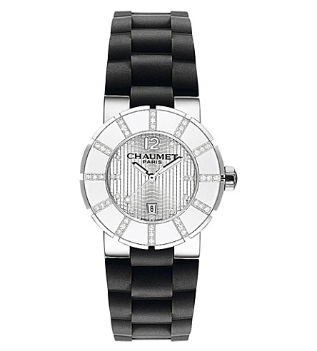 CHAUMET W17225-33F Class One stainless steel diamond and rubber watch