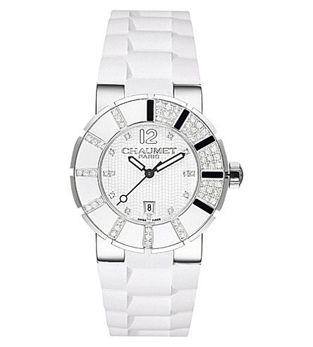 CHAUMET W17228-33E Class One polished steel and diamond watch