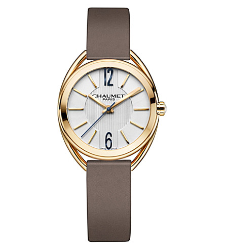 CHAUMET W2301002A Liens 18ct yellow-gold and leather watch