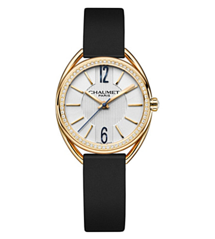 CHAUMET W2301102A Liens 18ct yellow-gold, diamond and leather watch