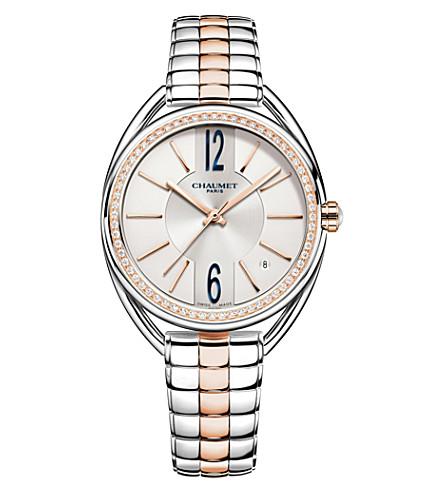 CHAUMET W23771-02A 留置权18ct 玫瑰-黄金和钻石手镯手表