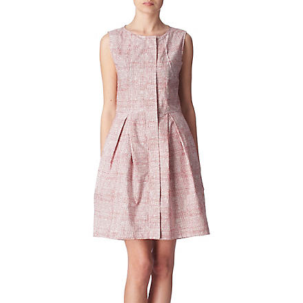 FARHI BY NICOLE FARHI Wood Block checked dress (Cream/pink