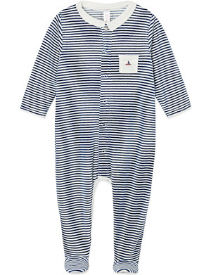 PETIT BATEAU Striped cotton sleepsuit