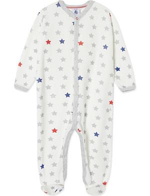 PETIT BATEAU Star-print sleepsuit