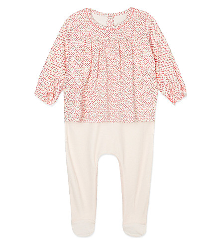 PETIT BATEAU Cotton all-in-one woodland blouse 0-12 months (Lait/blushy/multico