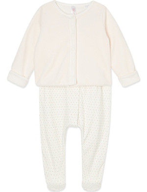 PETIT BATEAU Cotton sleepsuit and jacket set 0-12 months