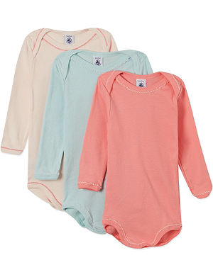 PETIT BATEAU Pack of three long-sleeved cotton bodysuits 1-48 months