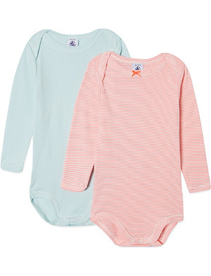 PETIT BATEAU Pack of two coloured cotton bodysuits 3-36 months