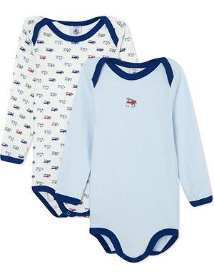 PETIT BATEAU Pack of 2 baby boy cotton bodysuits 3-36 months