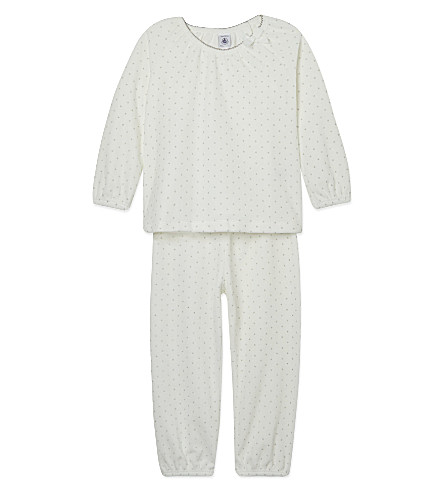 PETIT BATEAU Shiny polka dot pyjamas 2-12 years (White