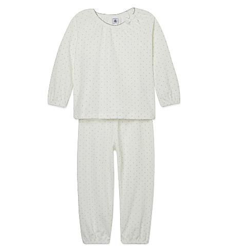 PETIT BATEAU 闪亮的波点睡衣 2-12 岁(白色