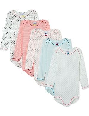 PETIT BATEAU Pack of 5 baby boy long-sleeved bodysuit 3-36 months