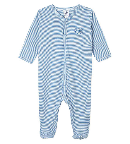 PETIT BATEAU Striped sleepsuit 1-24 months (Blue/ecumewhite