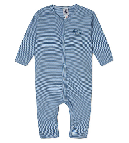 PETIT BATEAU Striped sleepsuit 1 month-4 years (Blue/ecumewhite
