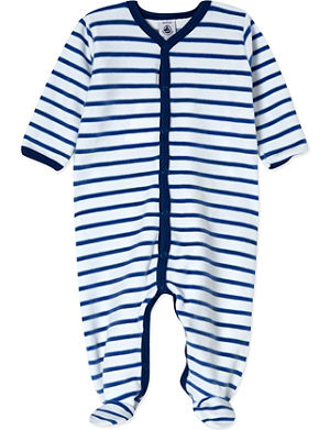 PETIT BATEAU Striped velour sleepsuit Newborn-24 months
