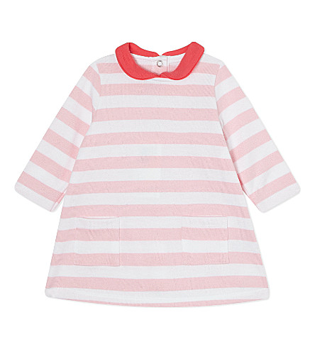PETIT BATEAU Striped cotton dress 3-36 months (Marquisepink/white