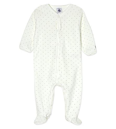 PETIT BATEAU Star print velour sleepsuit 1-24 months (Bueegrey/laitwhite