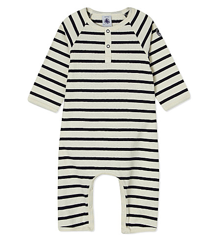 PETIT BATEAU Striped knitted sleepsuit 3-24 months (Beige/abysseblue