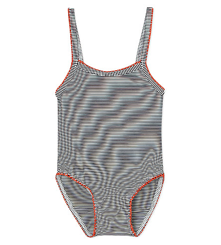 PETIT BATEAU Striped swimsuit 6-24 months (Blue/lait
