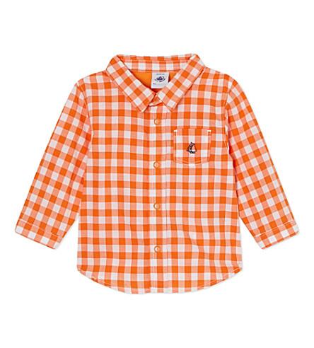 PETIT BATEAU Check shirt 3-36 months (Carottorange/white