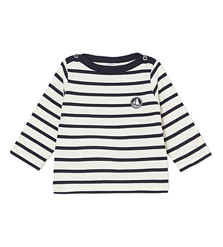 PETIT BATEAU Striped long-sleeved top 3-36 months (Beige/abysseblue